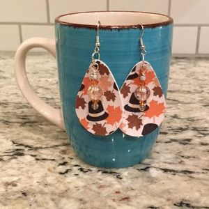 🍁🦃 thanksgiving faux leather earrings